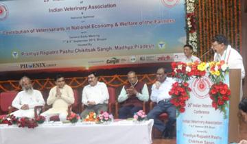 जनसम्पर्क मंत्री श्री पी.सी. शर्मा ने भारतीय वेटनरी ऐसोसिएशन की 29वीं कॉन्फ्रेंस के उद्घाटन सत्र को संबोधित किया।
