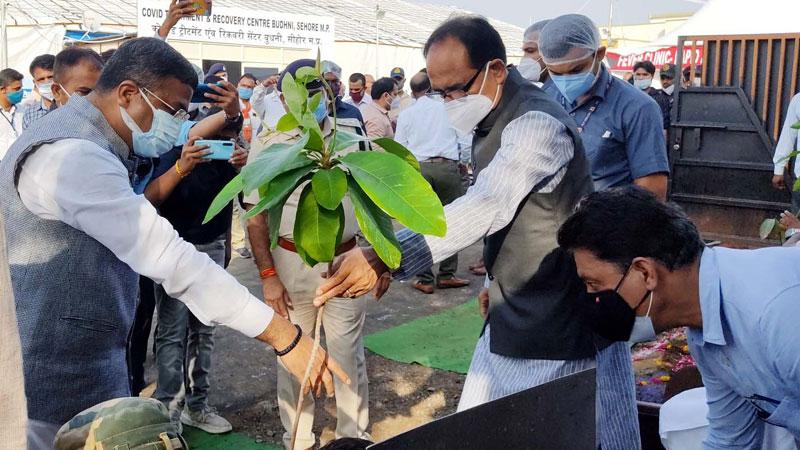 मुख्यमंत्री श्री शिवराज सिंह चौहान ने बुधनी में एकलव्य परिसर में पौधा रोपण किया।