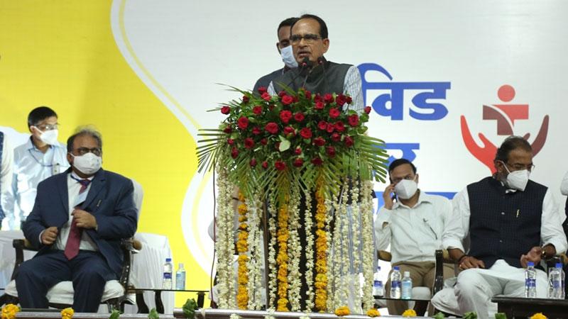 मुख्यमंत्री श्री शिवराज सिंह चौहान ने बीना के आगासौद में 200 बिस्तर के कोविड अस्पताल का शुभारंभ और ऑक्सीजन बॉटलिंग एवं रिफिलिंग संयंत्र का शिलान्यास कर संबोधन किया।