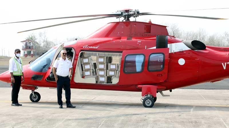हेलीकाप्टर से भोपाल आये रेमडेसिविर इंजेक्शन के 42 बॉक्स।